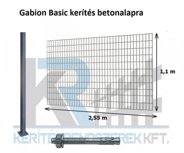 Gabion elem, 1x1,8m, 20 cm belül , dűbelezhető oszloppal
