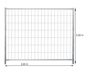 Dróthálós mobil tábla 2,2m × 2m, osztás 100mm x 300mm