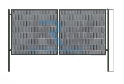 Garten 2D kétszárnyú kapu, 3,5x1,8m antracit, belátásgátlóval