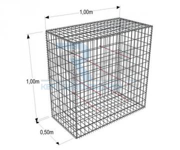 Gabion konténer  1x1x0,5 m, 76,2x76,2x3 mm osztás ZnAL (990x990x532)