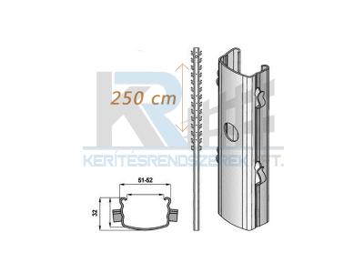 Vadháló oszlop 50x31x1,5mm 2500mm