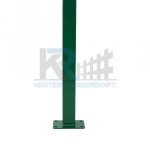 Zártszelvény oszlop zöld 40x60x2x1300 mm talplemezzel 150x100x5mm,