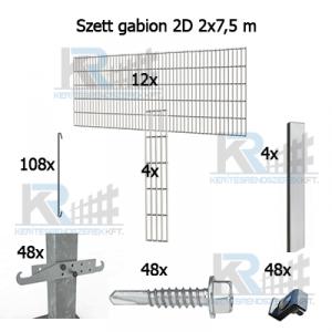 Szett gabion 2D 2x7,5m