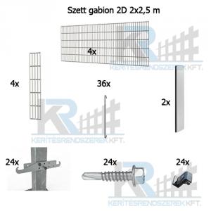Szett gabion 2D 2x2,5m