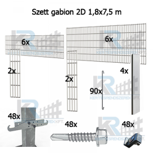 Szett gabion 2D 1,8x7,5m